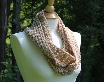 SALE! Crocheted Tan Infinity Scarf