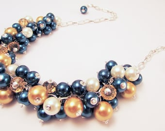 Navy Blue, Ivory White and Mustard Yellow Bead and Crystal Beaded Cluster Necklace, Navy Chunky Necklace, Wedding Jewelry, Mustard Yellow
