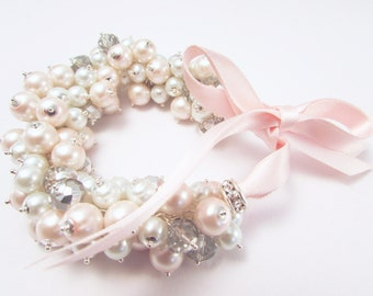 Blush Pink, White and Silver Grey Pearl and Crystal Cluster Bracelet with Blush Satin Ribbon, Wedding Bracelet, Pink Pearl Bracelet