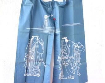 Vintage Japanese Noren Blue White Sumo Wrestler Curtain // Asian Art Wall Hanging Decor
