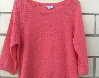 Vintage Peachy Pink Lacy Cotton Knit Top Size Medium