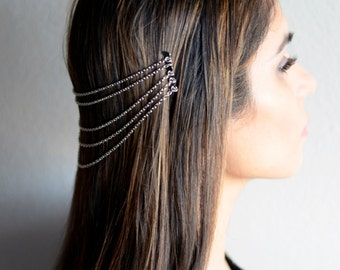 THE LARA Silver Hair Chain Jewelry Barrette Head Accessory Boho Festival Hippie Vintage Authentic Hair Jewelry Spring Summer Prom Christmas
