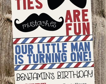 First Birthday Invitation - Little Man - Mustache & Bowties barbershop style