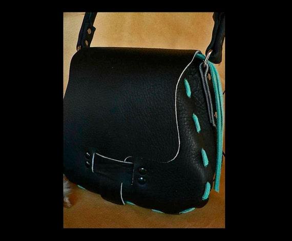 Leather Handbag, Black Shoulder Bag, Handmade, Original Design, Turquoise Trim, Boho Handbag, Soft Leather Handbag