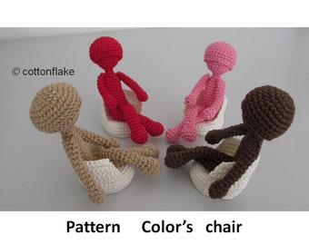 Pattern Color's chair , seamless amigurumi crochet
