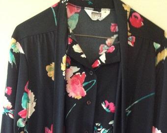 MW Black Flowered Blouse with Cravat