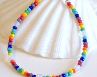Beaded Anklet, Beaded Ankle Bracelet, Rainbow Anklet