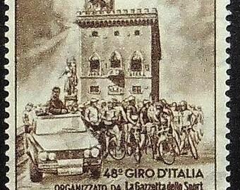 Racing Bicycles San Marino Sports -Handmade Framed Postage Stamp Art 11649