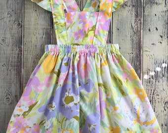 Rainbow sherbet floral toddler pinafore dress - vintage fabric - size 2-4t