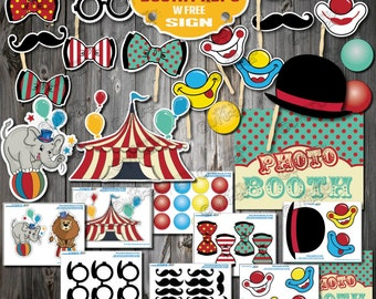 Instant Download!Carnival Party Photo Booth Props,Vintage Circus Party decoration,Carnival Birthday Party, First birthday Party printable