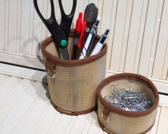 """Fire Hose Pencil Holder, 4"""" Cocoa Brown Accessory, Firefighter Utility Holder, Pencil Cup, Firefighter Gift, Desk Organization, Desk Decor"""