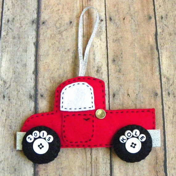 Personalized Felt Truck Christmas Ornament