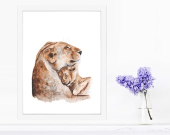 Baby Animal Art, Lion Nursery Art, Safari Nursery, Mom and Baby, Lion Watercolor, Nursery Art, Lion Print, Baby Room, Animal Art