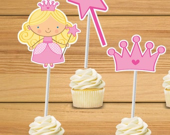 Princess party cupcake toppers - set of 24