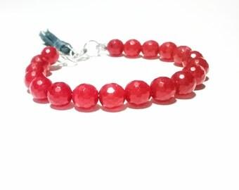 ON SALE! Ruby Bracelet Sterling Silver Bracelet July Birthstone Jewelry Birthstone Bracelet Stacking Gemstone Bracelet Tassel Bracelet Bo...