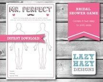 Mr. Perfect - Bridal Shower Game - Pink & Taupe - Instant Download - Digital File - Bachelorette Game - Perfect Husband - 012