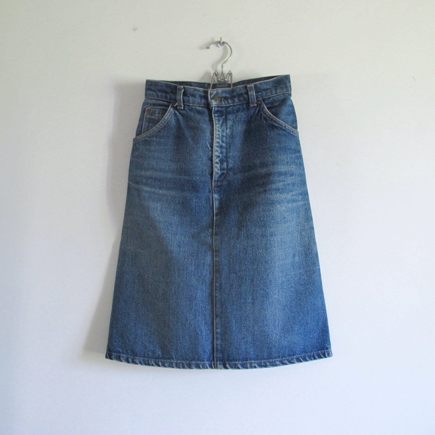 vintage 70s levi s orange tab denim skirt
