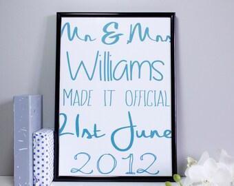 Personalised Oversized Typography Wedding Print