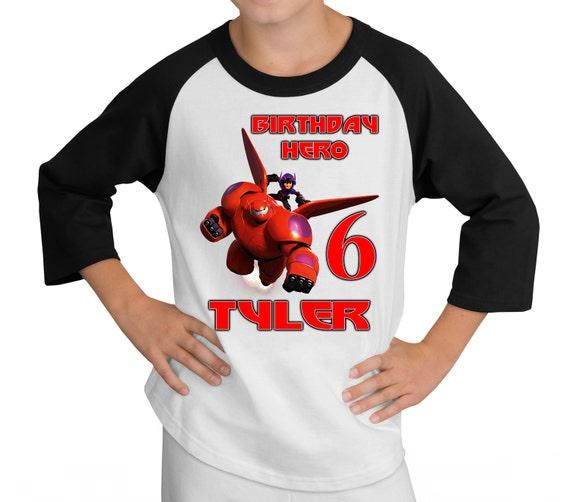 Big Hero 6 Shirt ~ Baymax Birthday Raglan Shirt PERSONALIZED ~ Custom