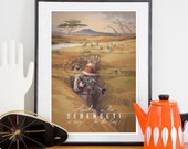 Retro Serengeti Travel Poster