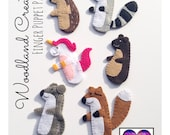 Finger Puppet PDF Sewing Pattern - Set of 6 Woodland Creatures