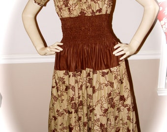 Super Cute Brown and Tan Homemade Dress with Elastic waist and Puffy Sleeves. Size M