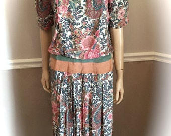 Patty O'Neil 80's FLORAL and PAISLEY Rayon / Suede Dress size large (12) Made in USA