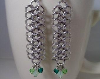 Green Swarovski Crystal Chainmail Earrings, European 4-in-1 Chain Mail Earrings, Chain Maille European 4 in 1 Earrings