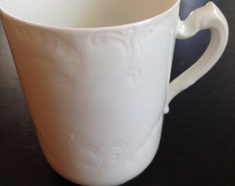 Antique Haviland France - Chocolate Cup-All White Dinnerware- Marseille Pattern- Schleiger 9 -Excellent Condition-2 7/8 inches tall-  HTF!