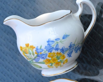 Royal Vale English Bone China Creamer Jug - White China, Gilt Rims-  Bluebells and Primroses Floral Pattern - 1950s-60s