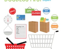 Grocery Shopping Clip Art for Scrapbooking Card Making Cupcake Toppers Paper Crafts