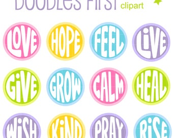 Inspirational Words Collage Sheets for Scrapbooking Card Making Cupcake Toppers Paper Crafts Digital Collage Sheet