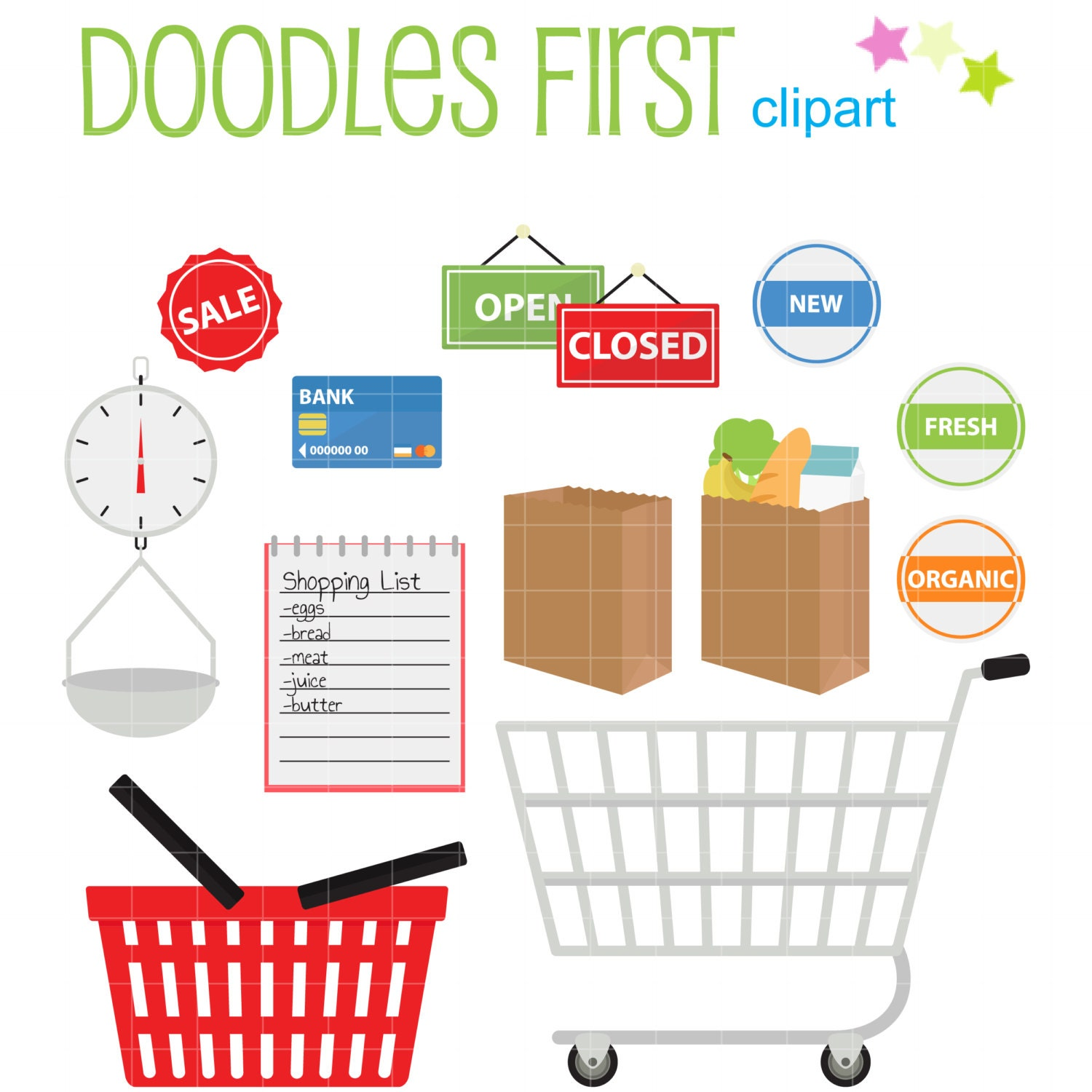 Scrapbook paper cart - Grocery Shopping Clip Art For Scrapbooking Card Making Cupcake Toppers Paper Crafts