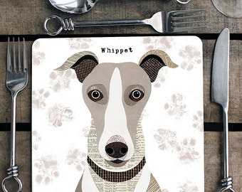 Whippet personalised placemat/coaster