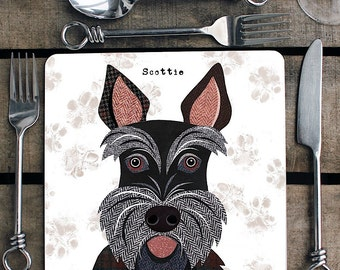 Scottie Dog personalised placemat/coaster
