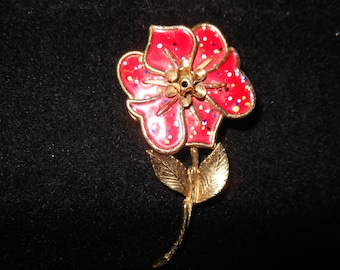 Vintage Red Floral Pin in Gold Tone Setting