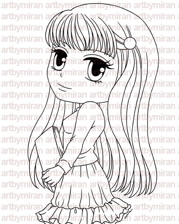 Digital Stamp - Tessa, Digi Stamp, Coloring page, Printable Line art for Card and Craft Supply