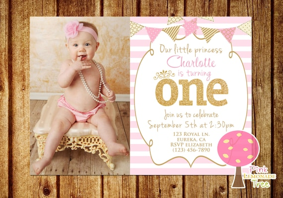Pink And Gold First Birthday Party Invitation Princess