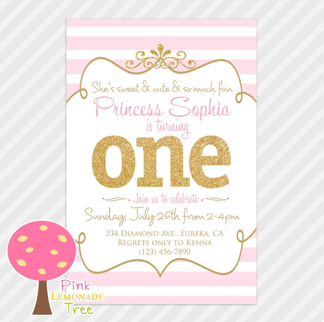 Pink And Gold First Birthday Party Invitation Gold Glitter