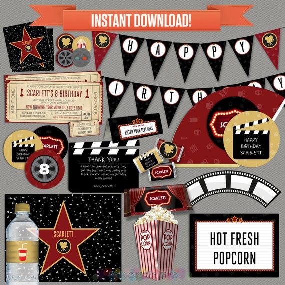 Movie Party Decorations Amp Movie Ticket By Partyprintables2go