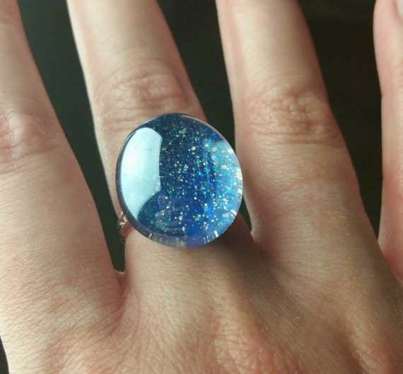 Glitz Glam Blue Diamontrigue Jewelry: Blue Galaxy Ring Galaxy Jewelry Glitter Ring By