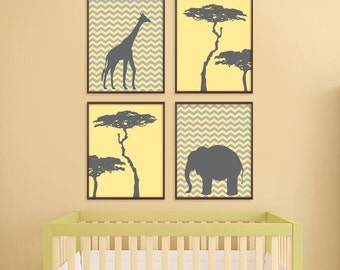 Jungle Nursery Art, Safari Nursery Art, Giraffe, Elephant, Baby Nursery Decor, Kids Room Decor, New Baby Gift, Childrens Room Decor, Chevron