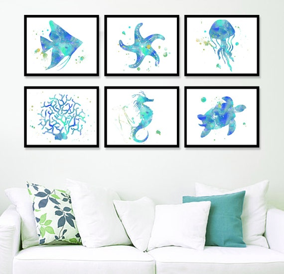 nautical home decor coastal wall art beach art print sea life prints - Coastal Wall Decor