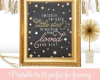 Twinkle Little Star Do You Know How Loved You Are - Printable Baby Girls Nursery Wall Art, Birthday Sign, Chalkboard Blush Pink Gold Glitter