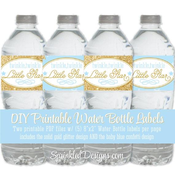 twinkle little star printable water bottle labels baby blue. Black Bedroom Furniture Sets. Home Design Ideas