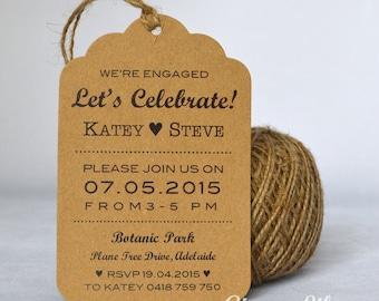 Rustic Kraft Luggage Tag Engagement Invitation - Black Print - Heart Design - Jute Twine