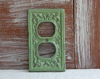 Outlet Cover, Outlet Plate, Plug Cover, Sage Green, Distressed, Electrical Outlet Plate Cover, Cast Iron Metal, Wall Socket cover plate