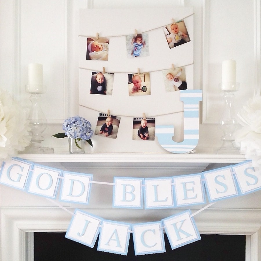 Baptism banner baptism decorations dedication baptism for Baby christening decoration