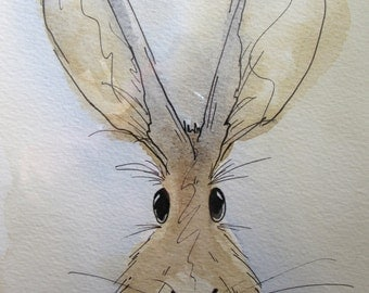 Charlie the Hare - original watercolour painting