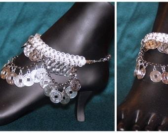 White & silver anklet